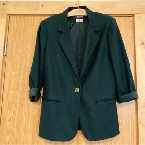 Vintage Hunter Green Wool Oversized Blazer